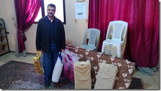 Man receives bedding for his family